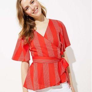 NWT Ann Taylor LOFT Striped Red Wrap Top